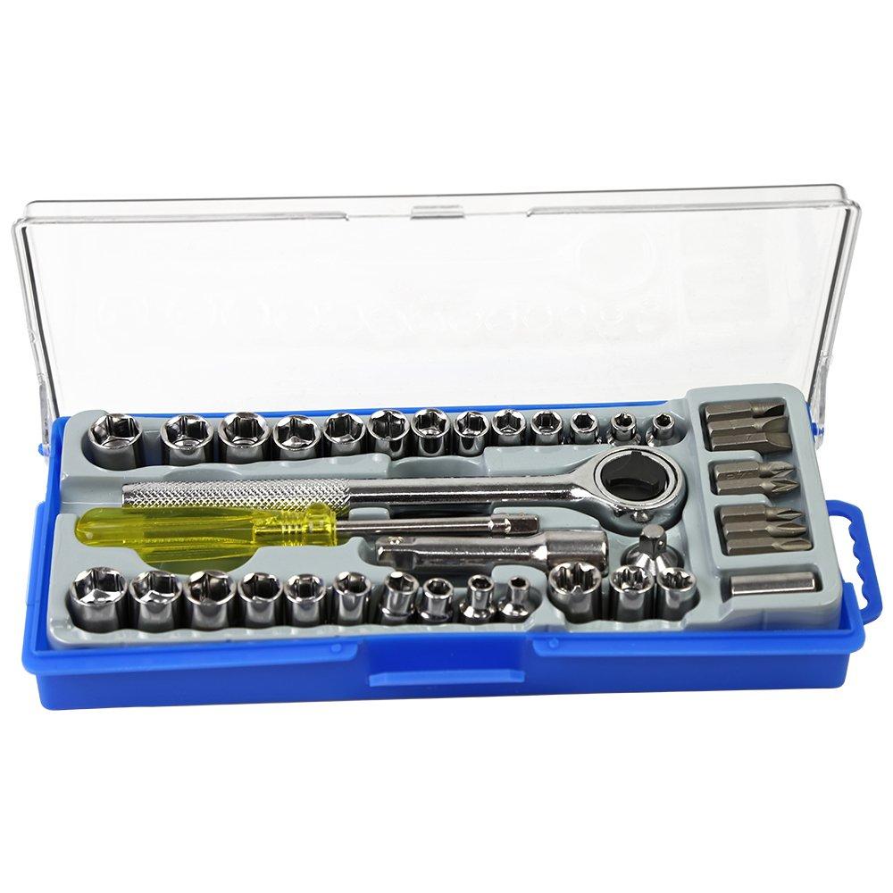 Jogo de soquete e bits com chave catraca 1/4 e 3/8 pol. com 40 peças  FortGPRO-FG8912