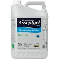 Álcool Gel para Mãos Antisséptico Aloe Vera 4,3Kg 1 UN Asseptgel