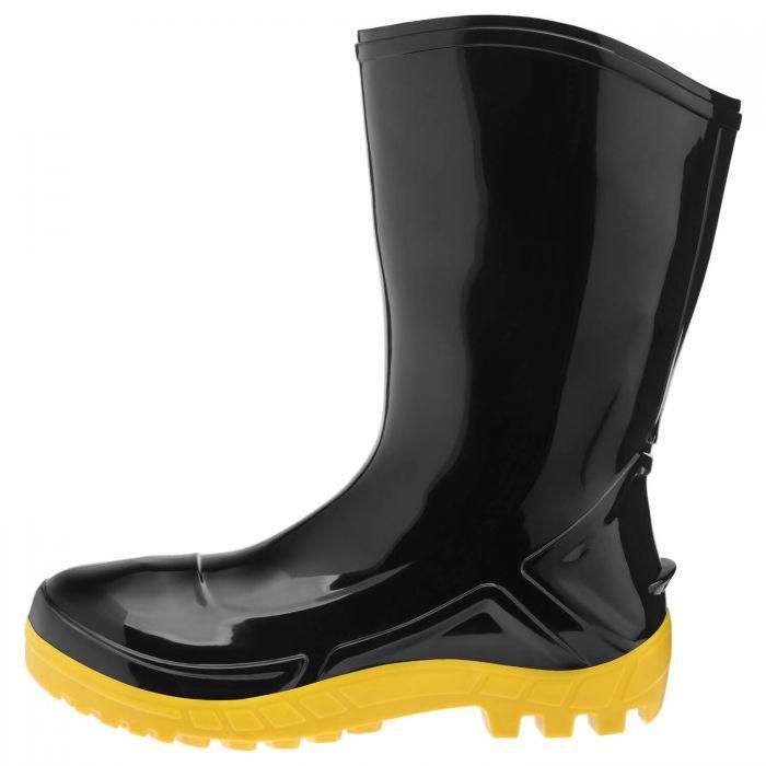 Bota de PVC Cano Médio Preto Com Solado Amarelo Marluvas