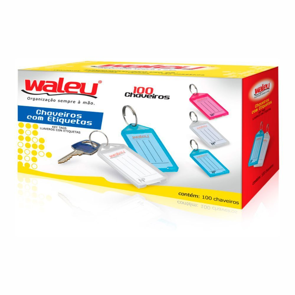 Chaveiros com Etiqueta caixa com 25 Unidades Waleu