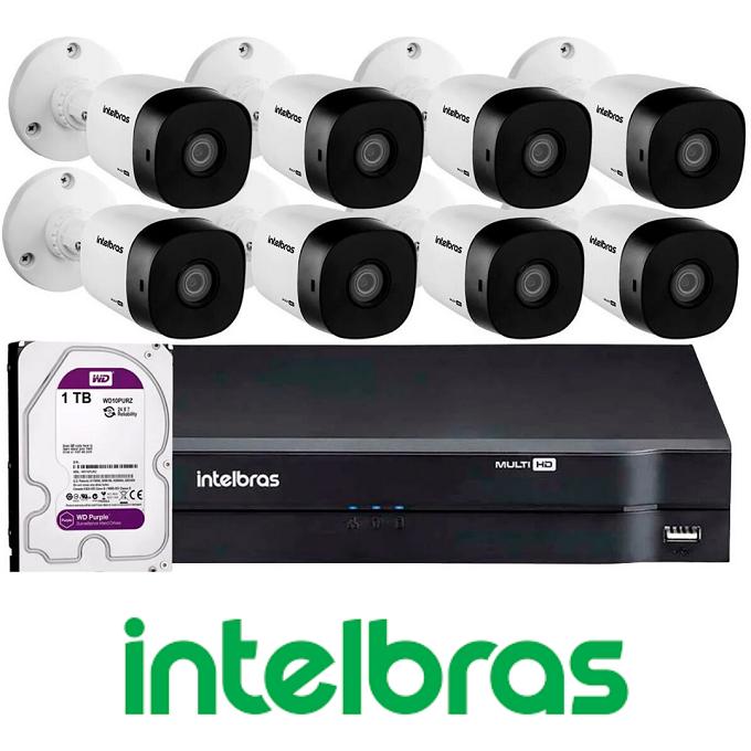 Kit CFTV -  8 câmera VHD 1010 B G4- 1 DVR com 4 canais com 1 terabyte de armazenamento - Intelbras