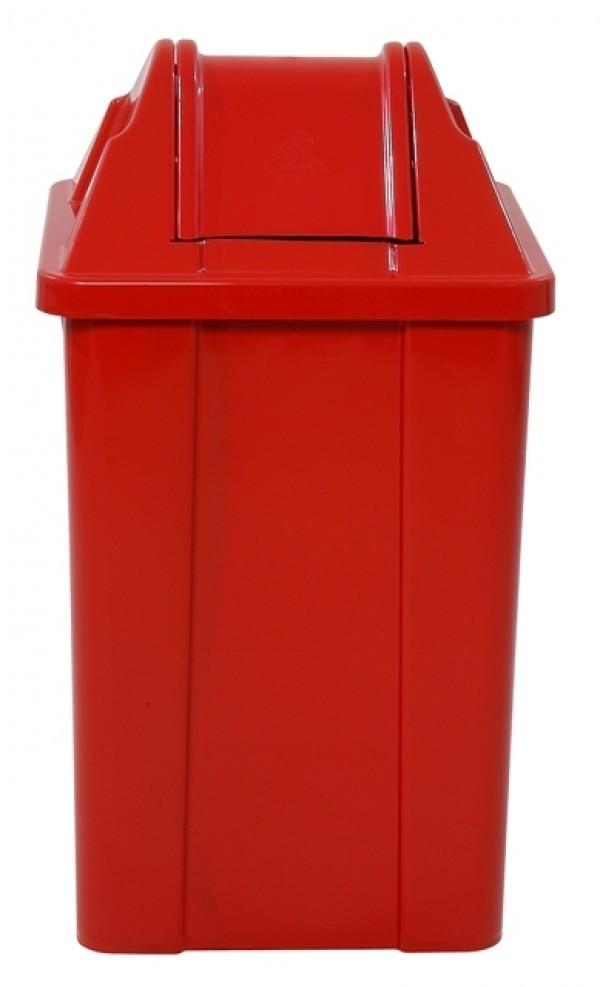 Lixeira Plástica com Tampa Vai Vem JSN Vermelha 60 Litros
