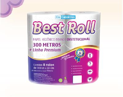 Papel higiênico branco institucional – Best Roll - 8 rolos com 300 metros