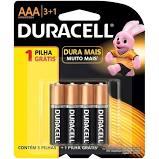 Pilha Duracell Alcalina Palito AAA Com 4