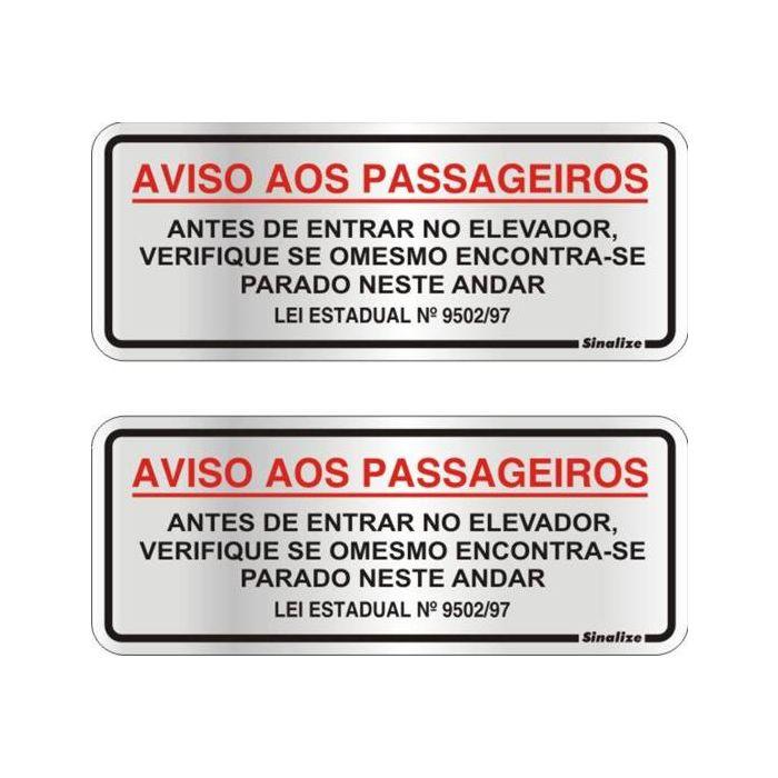 Placa Aviso Elevador Alumínio 60x150mm