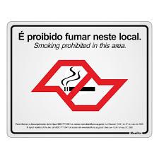 Placa de Alumínio É Proibido Fumar Neste Local PT 2 UN Sinalize