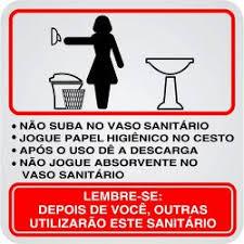 Placa de Alumínio Procedimentos para Sanitário Feminino 1 UN Sinalize