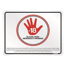 Placa de Alumínio Proibido Venda de Álcool para Menores 1 UN Sinalize