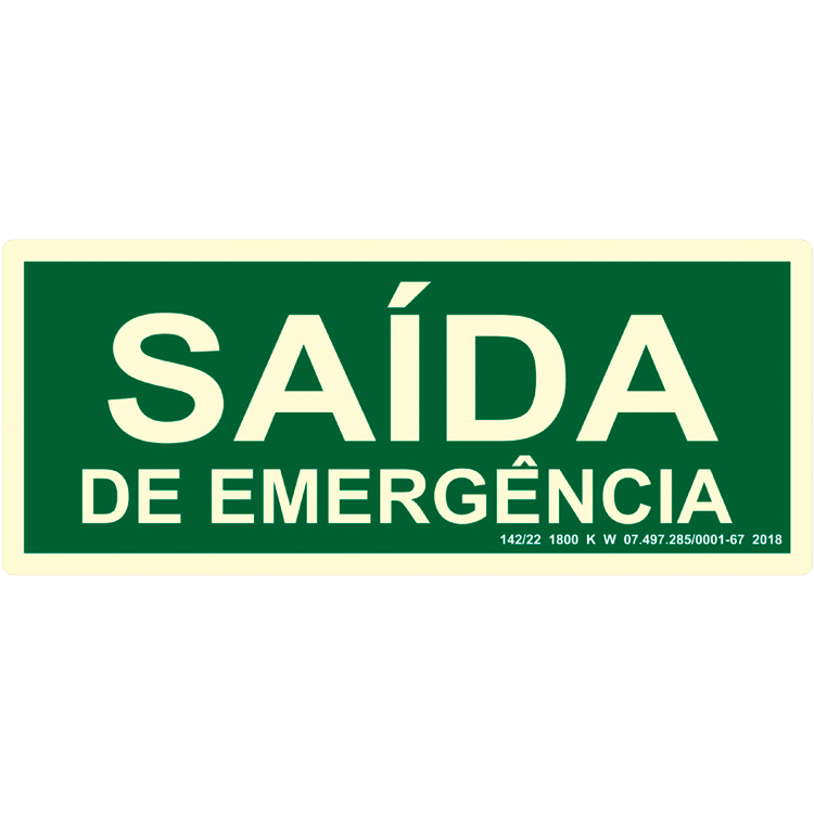 Placa de Sinalização Saída de Emergência Fotoluminescente 1 UN Sinalize