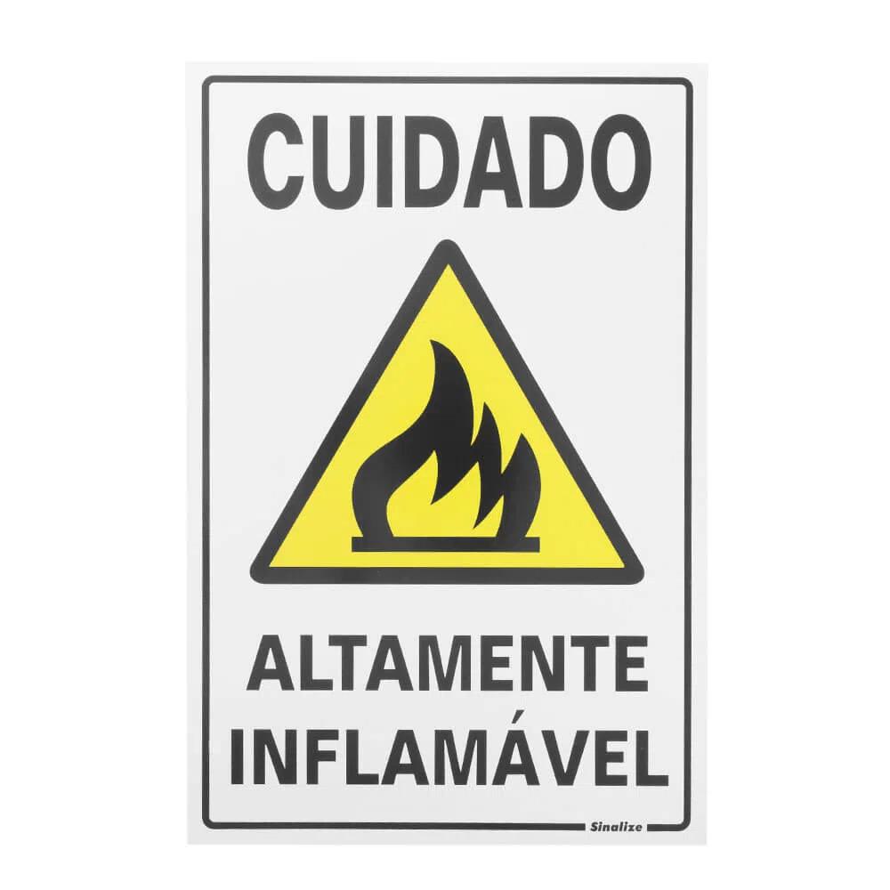 Placa de Sinalização Sinalize Altamente Inflamável 20X30CM