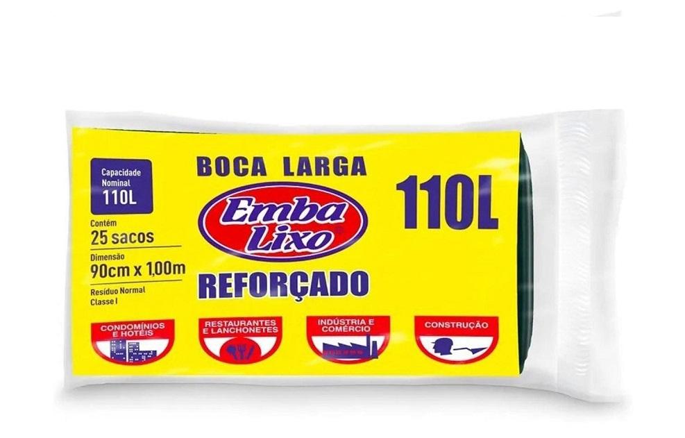 Saco de lixo Reforçado - EmbaLixo - Boca Larga - 110 Litros - 25  sacos