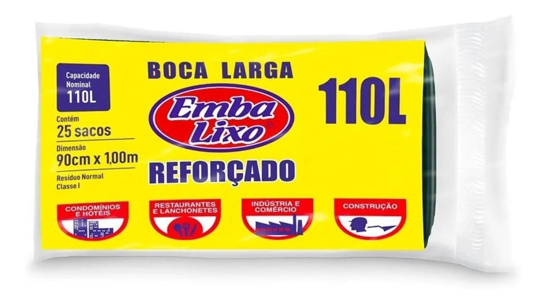 Saco de lixo Reforçado - EmbaLixo - 110 Litros - 25  sacos
