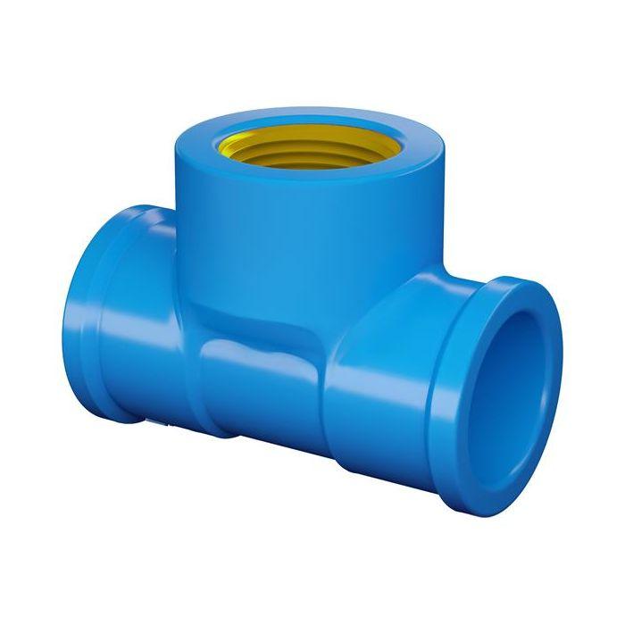 """Te Soldável com Bucha de Latão Azul PVC 25mm x 3/4"""" Fortlev"""