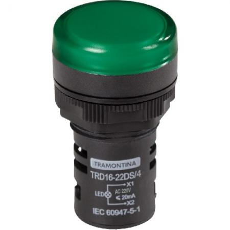 Sinaleiro Led 22mm Verde 220v Tramontina