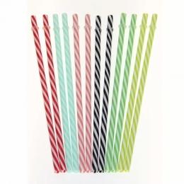 Kit 12 Canudos de Plastico Colorido Listrado Reutilizável