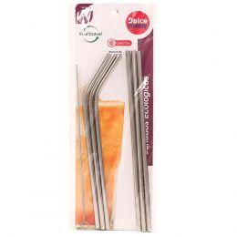 Canudos Ecologicos De Inox Kit Com 6 peças 21,5Cm