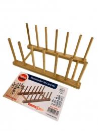 Escorredores de prato de bambu com 6 divisórias 28x12cm