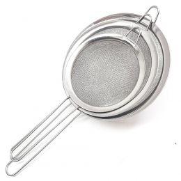 Kit Peneira Cozinha Inox 3 Tamanhos 7cm,8cm E 10 Cm P,M,G