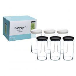 kit 6 Potes de Vidro Canary 1 Litro