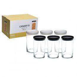 Pote de Vidro Canary 880 ml com 6 Peças