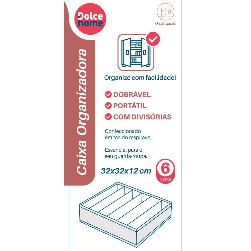 Caixa Organizadora com 6 Divisórias tecido dobrável compacto