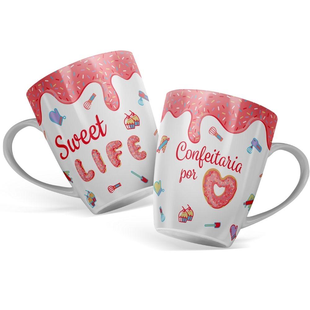 Caneca Confeitaria de Porcelana Fofa Sweet 410ML