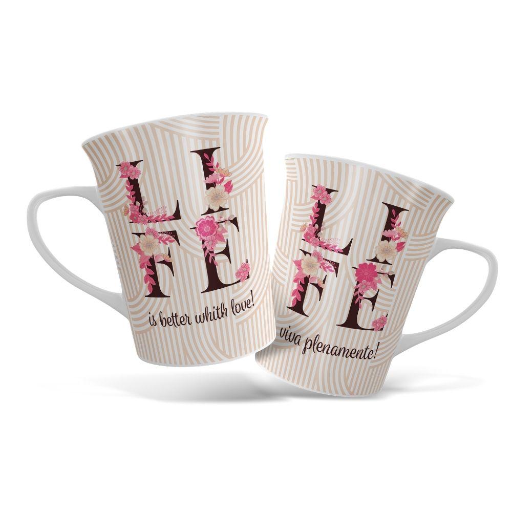 Caneca de Porcelana Life Café Love Amor 340ml