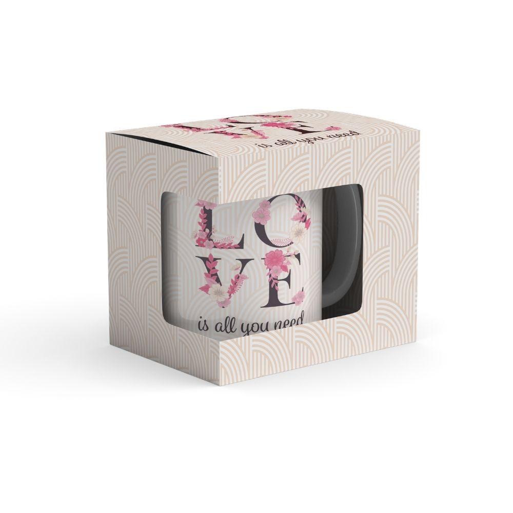 Caneca de porcelana Love 340 ml na Caixinha