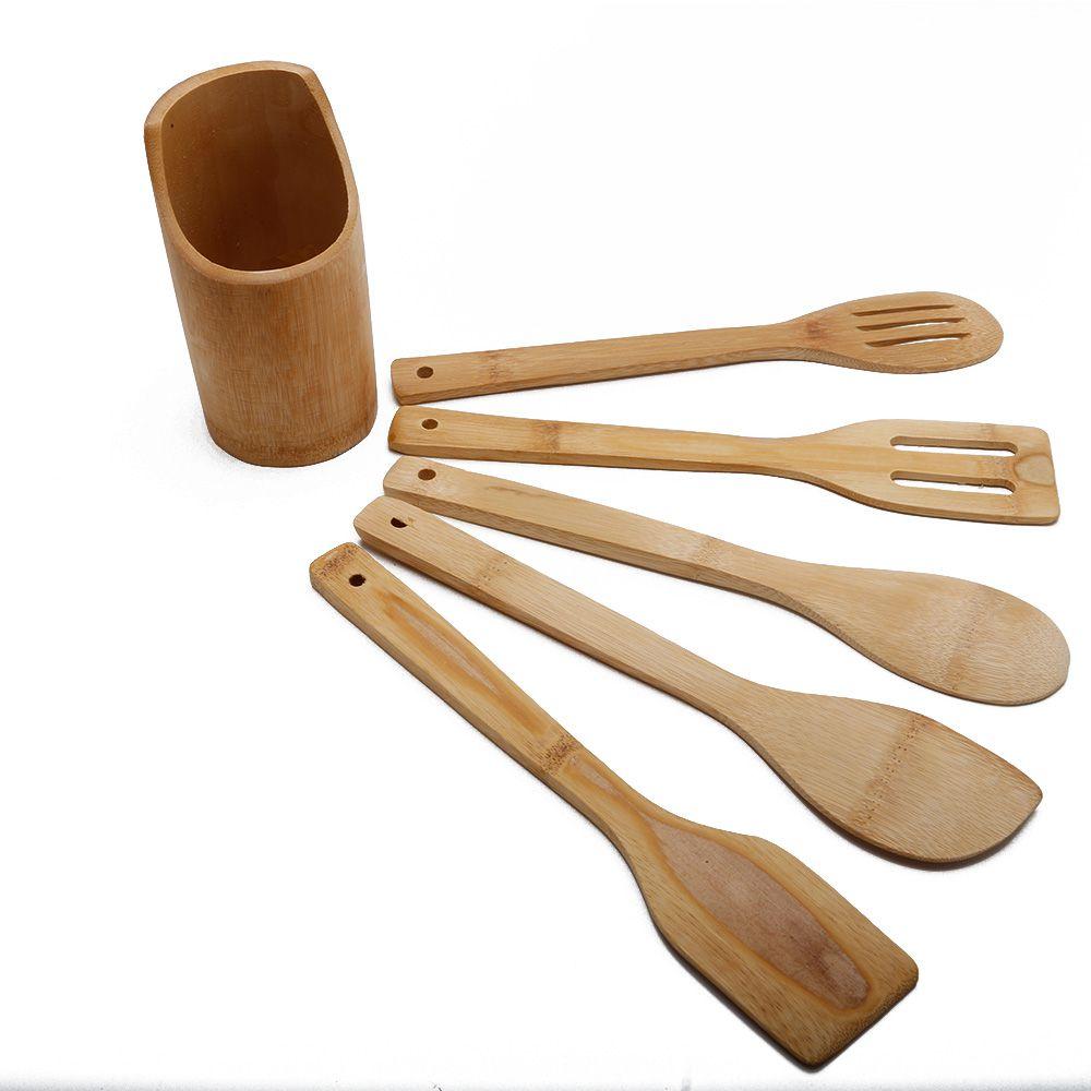 Conjunto De Utensílios Para Cozinhar De Bambu