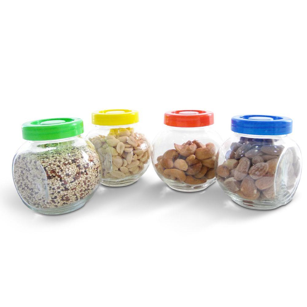 Conjunto 4 Potes Porta Condimento Vidro Tampa Colorido