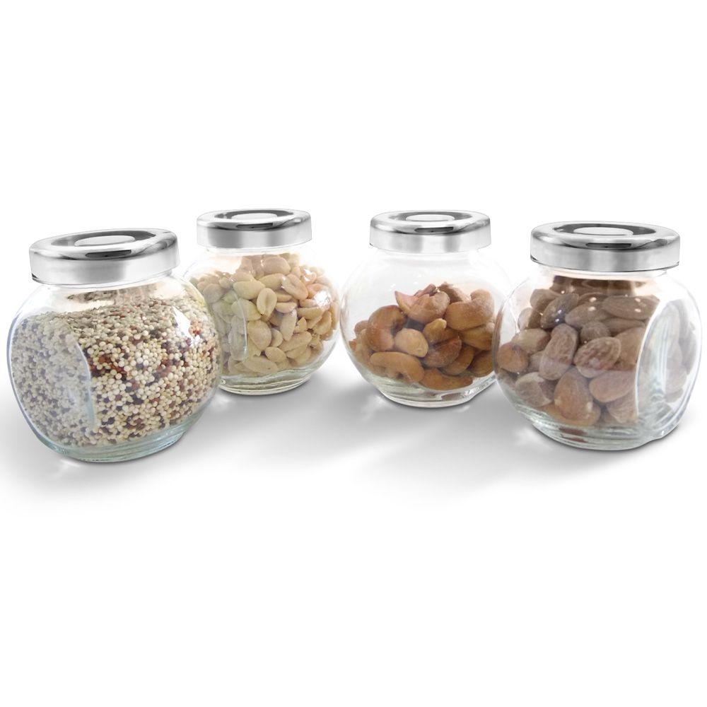Conjunto Pote Condimento Vidro Inox