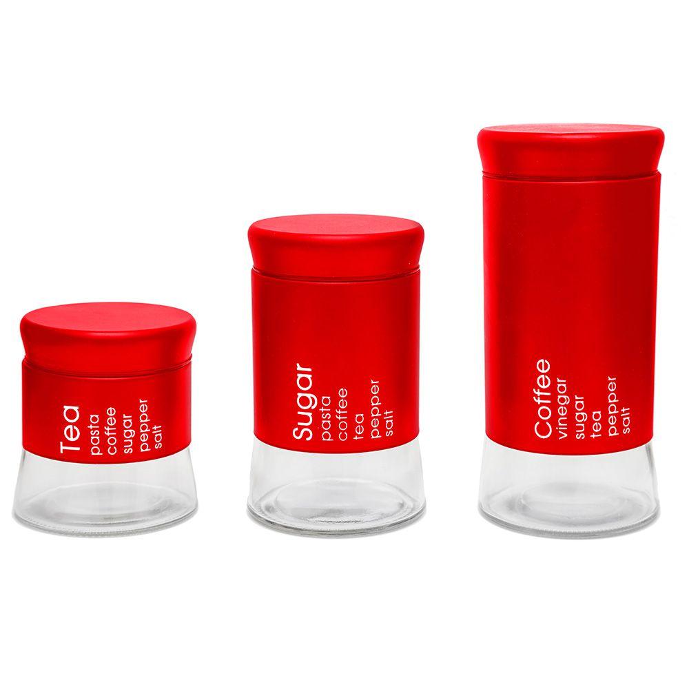 Conjunto 3 Pote Porta Mantimento  Will Inox e Vidro Vermelho