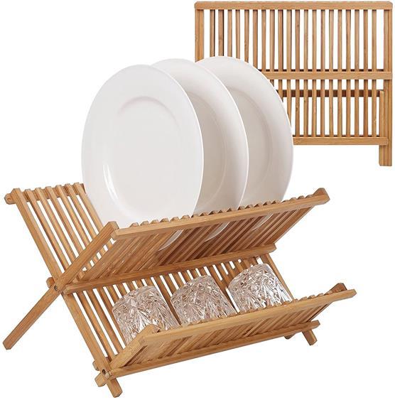 Escorredor De Louça de Bambu Dobrável para 20 Pratos Copos
