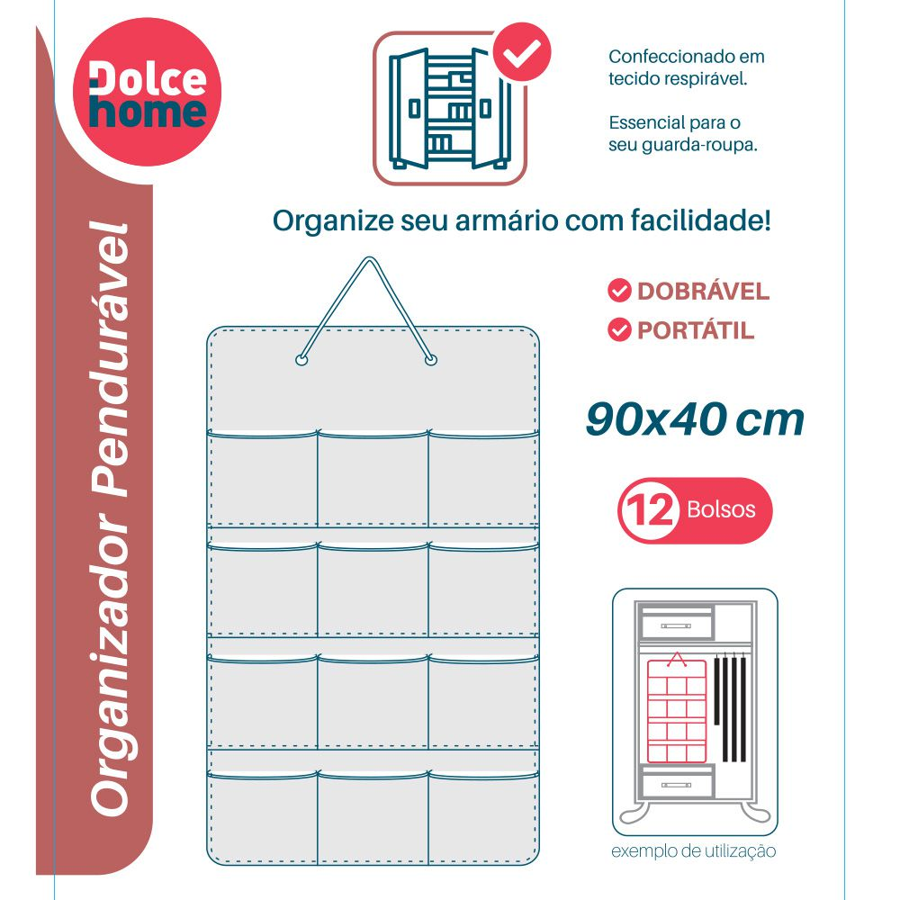 Organizador Armário Pendurável 12 Divisórias Tecido Multiuso