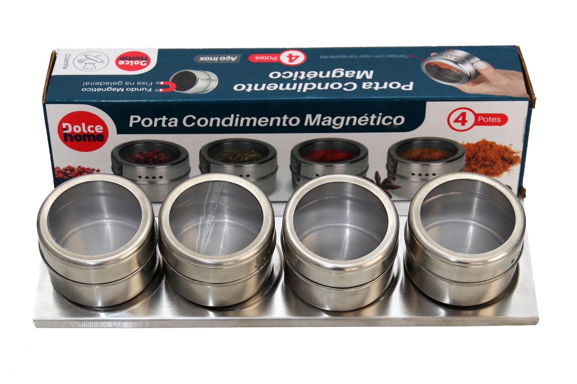 Porta Condimento Magnético 4 Peças com base