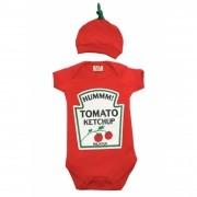 Body de bebê Catchup com touca tomatinho
