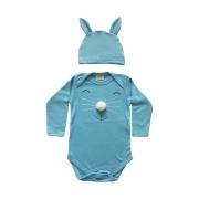 Body de bebê Coelho da Páscoa com touca de orelhinhas azul