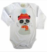 Body de bebe infantil com aplique de pompom Panda