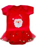 Body de bebê Natal Papai Noel com frufru Pomponzinhos