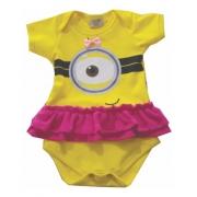 Body De Bebê Personagens Minion Menina Com Saia