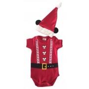 Body de Natal Infantil Mickey com Capuz de Orelhas.