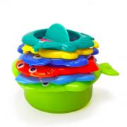 Brinquedo infantil de bebê para  banho encaixe de potinhos e cores