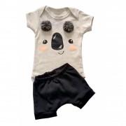 Conjunto de Bebê Verão Coala com Pompom e Shorts
