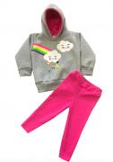 Conjunto  Infantil bebe  Moletom Peluciado  Nuvem Pompom Colorido