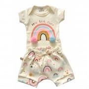 Conjunto de verão Bebê Arco-Iris com aplique