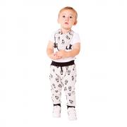 Conjunto Milk Cinza/preto  com body e bandana