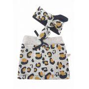 Kit bebê mini saia e bandana laço Oncinha