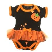 Vestido de bebe bruxinha fantasia halloween com aplique de abobora
