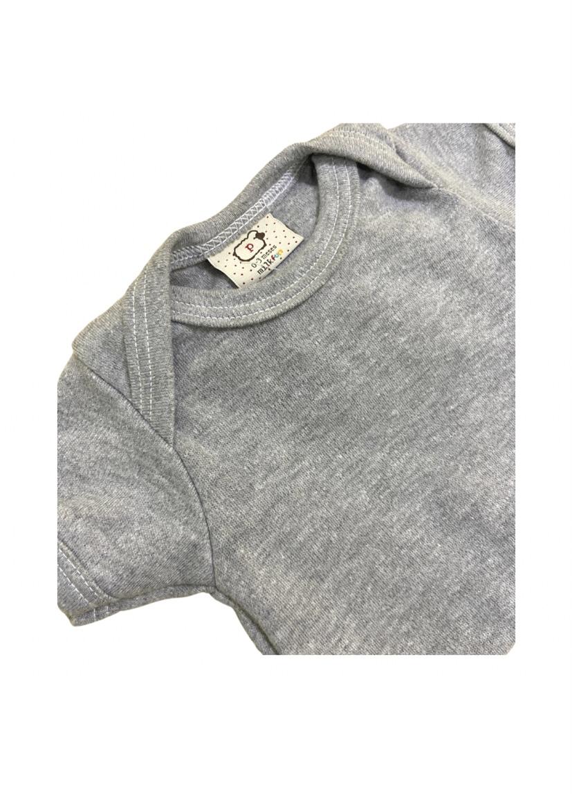 Body bebê algodão infantil básico cor cinza manga curta ou manga longa