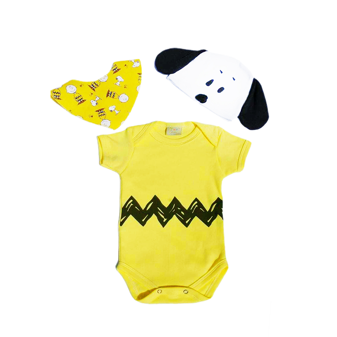 Body Bebê Infantil Charlie Brown / snoopy com touca